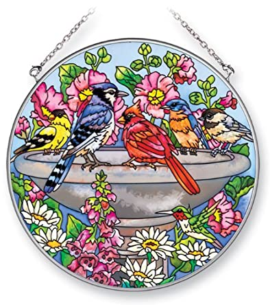 Amia 5324 Suncatcher Featuring Birds in a Birdbath, Hand Painted Glass, 6-1/2-Inch Circle