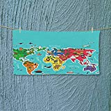 Nalahome Shower Towel Kids Maps Decor Collection America Africa Asia Australia Pacific Indian Atlantic Ocean Image Easy Care Machine wash L27.5 x W11.8 inch