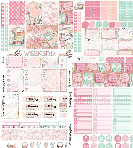 I Love Planning, Weekly sticker kit. 6 sheets on matte sticker paper. Choose your size from Erin Condren to Happy Planner. Kiss cut, just peel and stick. by DEK Designs