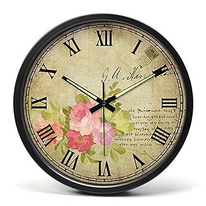Reloj de pared de 14 pulgadas salón mute glow-en-el-reloj relojes