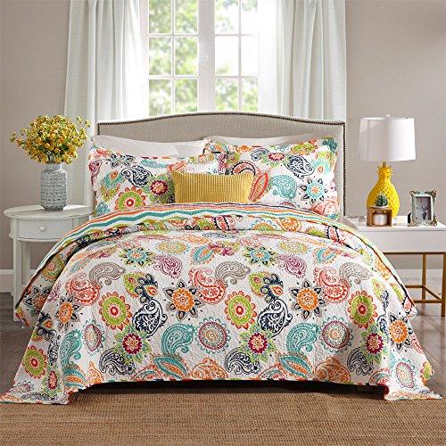 Travan 3-Piece Quilt Set Oversized Bedspread Coverlet Set Reversible Queen Size, ColorfulFlower (Bedspread Dog)