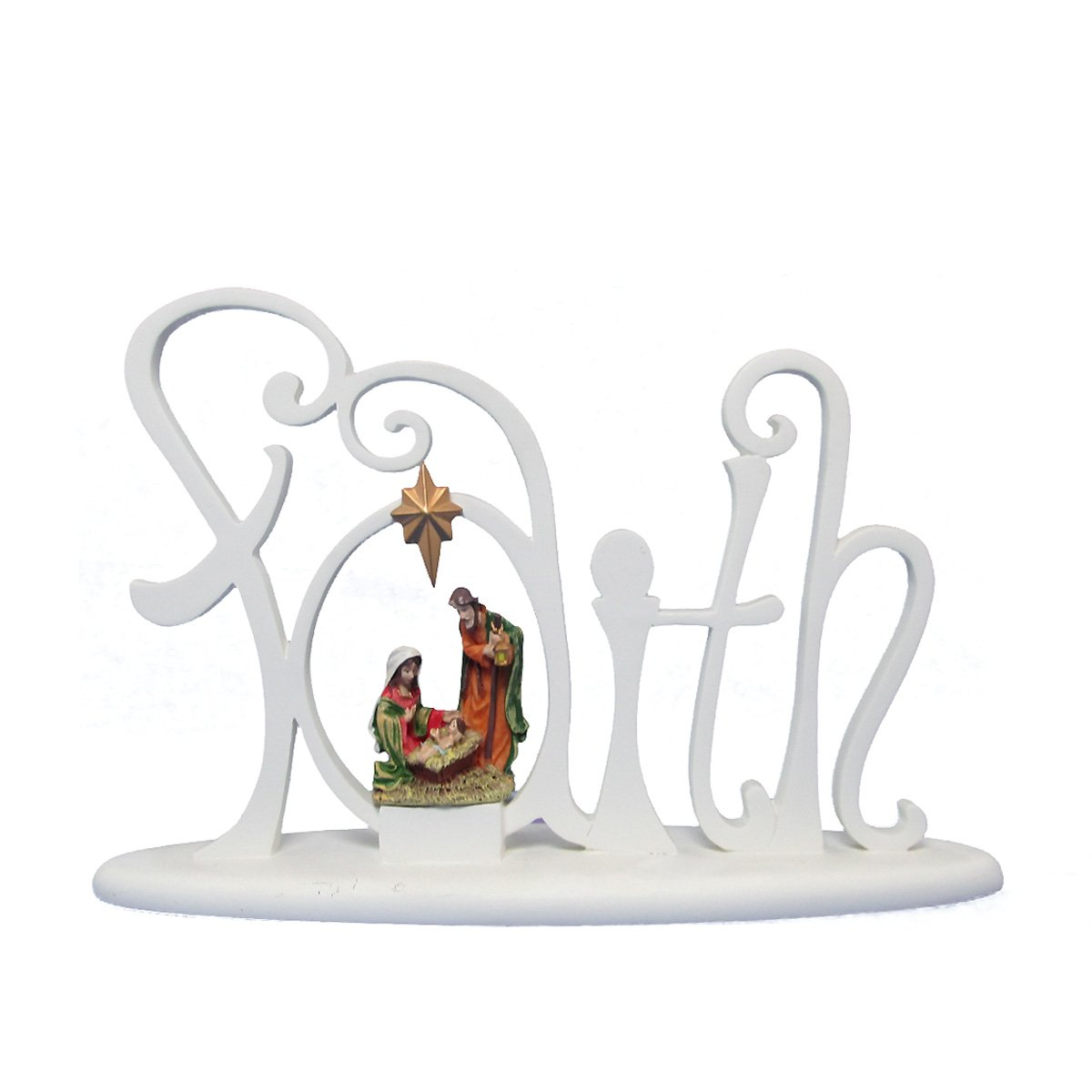Light Up Nativity Collection on Faith Faux Wood Carving Tabletop Décor