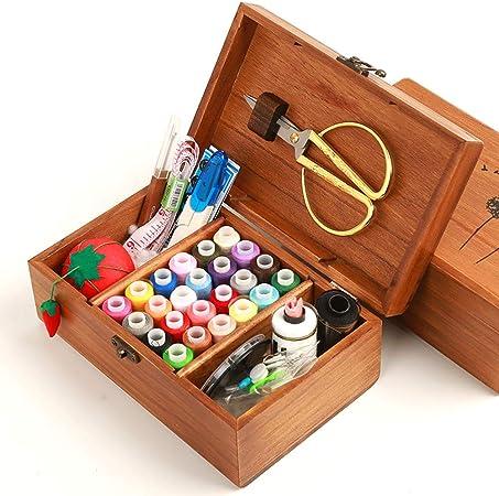 MKNZONE Caja de Costura de Madera - 68 Piezas Accesorios de Costura para Hilos de Coser, Tijeras, Agujas, Alfileres, Botones, Cinta Métrica etc: Amazon.es: Hogar