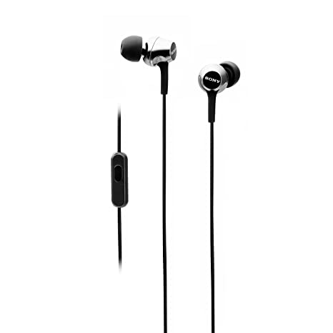 Sony MDR EX255AP in Ear Headphones with Mic  Black  Wired Headsets
