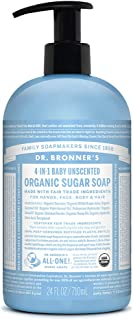 product image for Dr. Bronner's - Organic Sugar Soap (Baby Unscented, 24 Ounce) - Made with Organic Oils, Sugar and Shikakai Powder, 4-in-1 Use: Hands, Body, Face and Hair, Moisturizes and Nourishes, No Added Fragrance