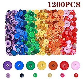 Efivs Arts 1200 Pcs Assorted Resin Buttons Mixed Colors Size Buttons for Sewing DIY Crafts Scrapbooking Children's Manual Project