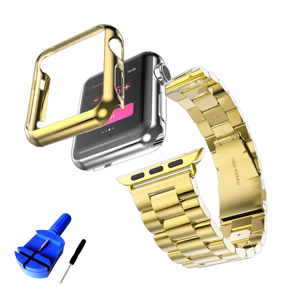 GUIGONG Band for Apple Watch,Solid Stainless Steel Metal Strap Band w/Adapter+Case Cover for Apple Watch iWatch 38/42mm (Gold 42mm)