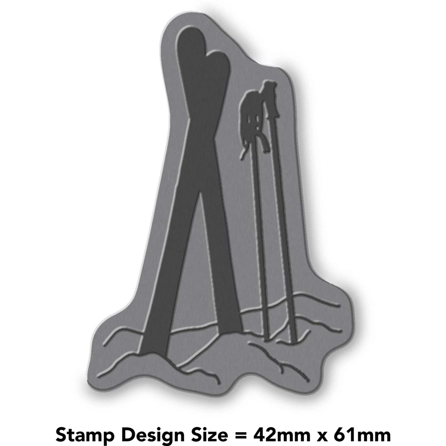 A8 Skis /& Poles in Snow Unmounted Rubber Stamp RS00020757