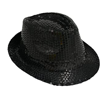 e43e1e775 Michael Jackson Sequin Fancy Dress Fedora Trilby Hat