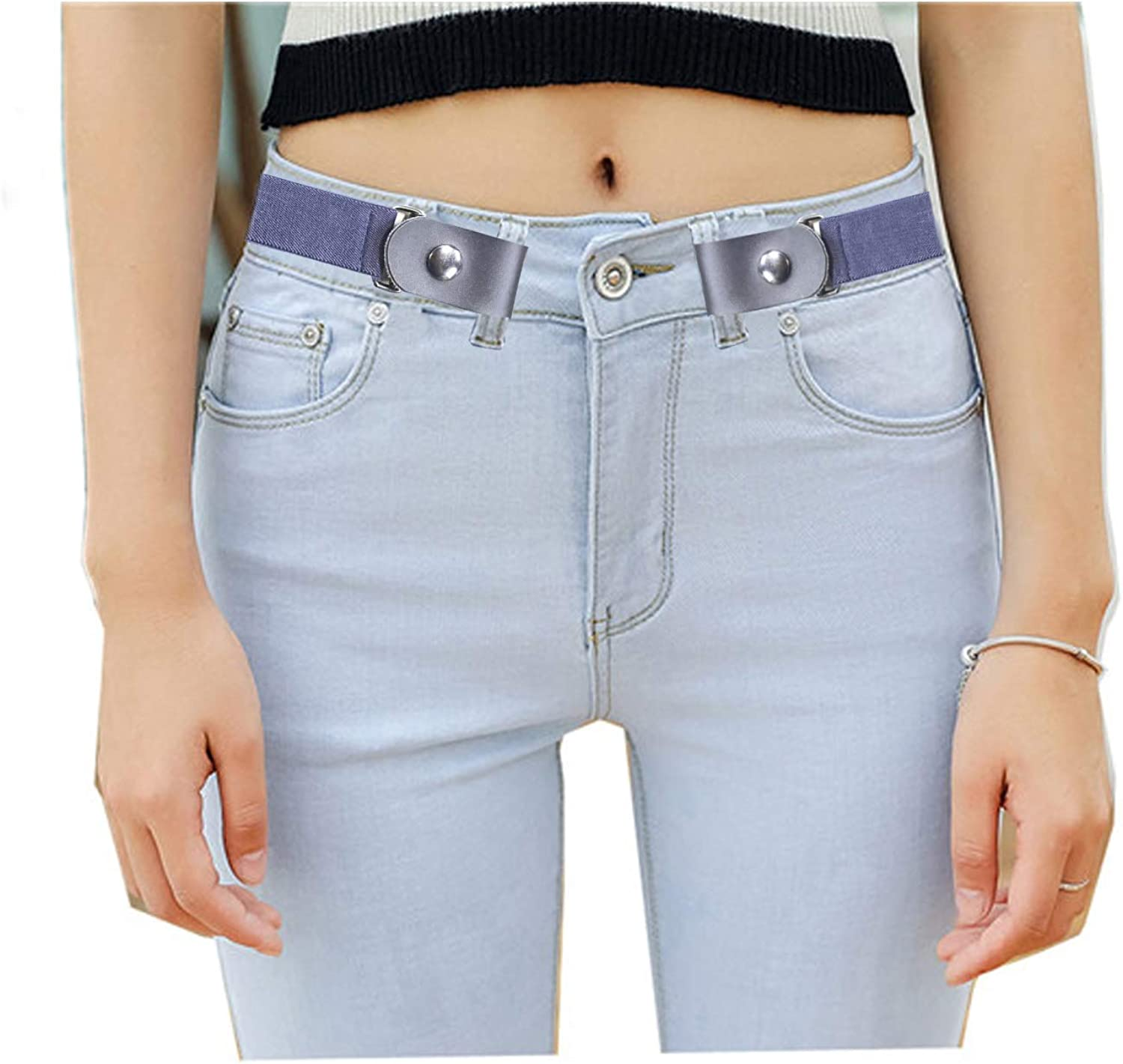 No Buckle and Hassle Elastic Invisible Belts for Jeans Buckle-less No Bulge Belt for Women
