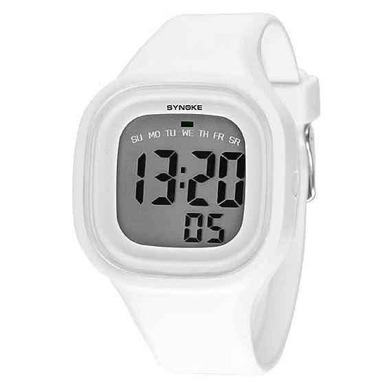 Malloom® 2015 moda natación reloj deportivo silicona digital LED impermeable unisexo reloj Blanco: Amazon.es: Relojes