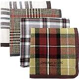 Leevo Handkerchief Men Assorted Woven Cotton 100% Hankies Fashion 4pack Bulk Value Pack (17.5inch 4pack bulk no.1-4th ver.)