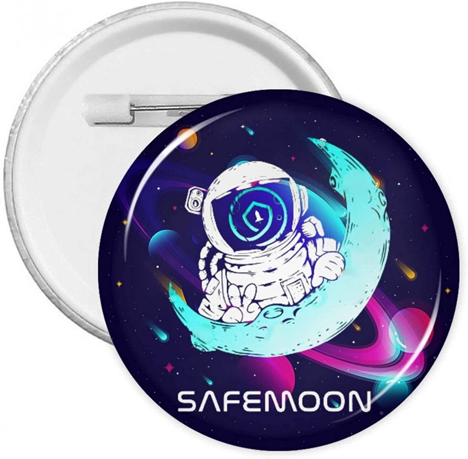 Safemoon Hodl Round Button Badges Metal Pins Custom Bag Clothes Hats: Clothing