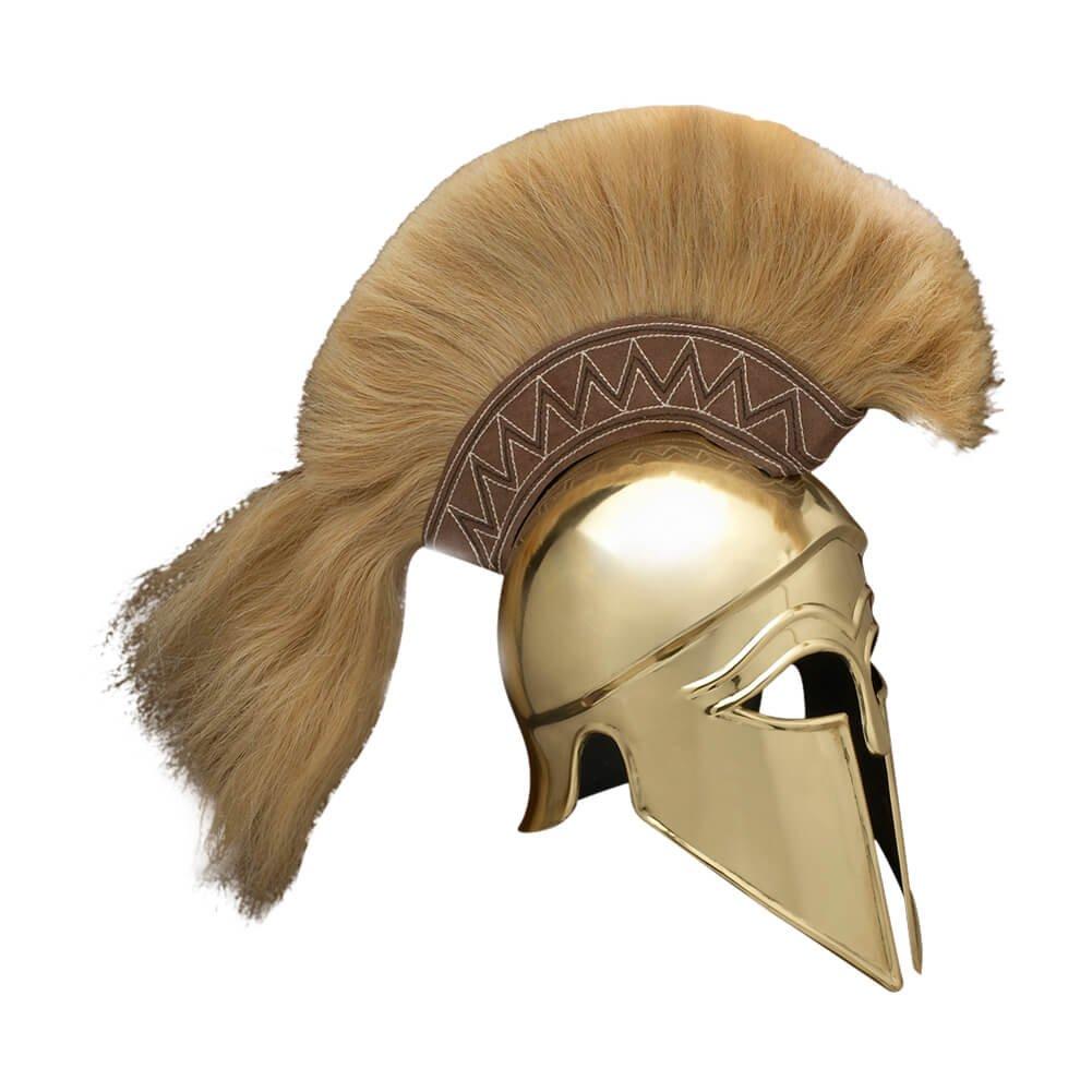 Italic Corinthian Greek Medieval Helmet (Brass) with Plume - One Size - Brass