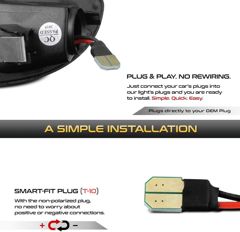 Driver /& Passenger Side VIPMOTOZ Dark Smoked Lens Full LED Front Fender Side Marker Light Turn Signal Lamp Assembly Replacement Pair For 2007-2015 Smart Car W451 Fortwo