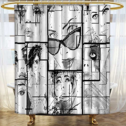 Shower Curtains with Shower Hooks Women Faces with Eye Makeup Romance Black White Fabric Bathroom Set with Hooks W108 x H72 inch ()