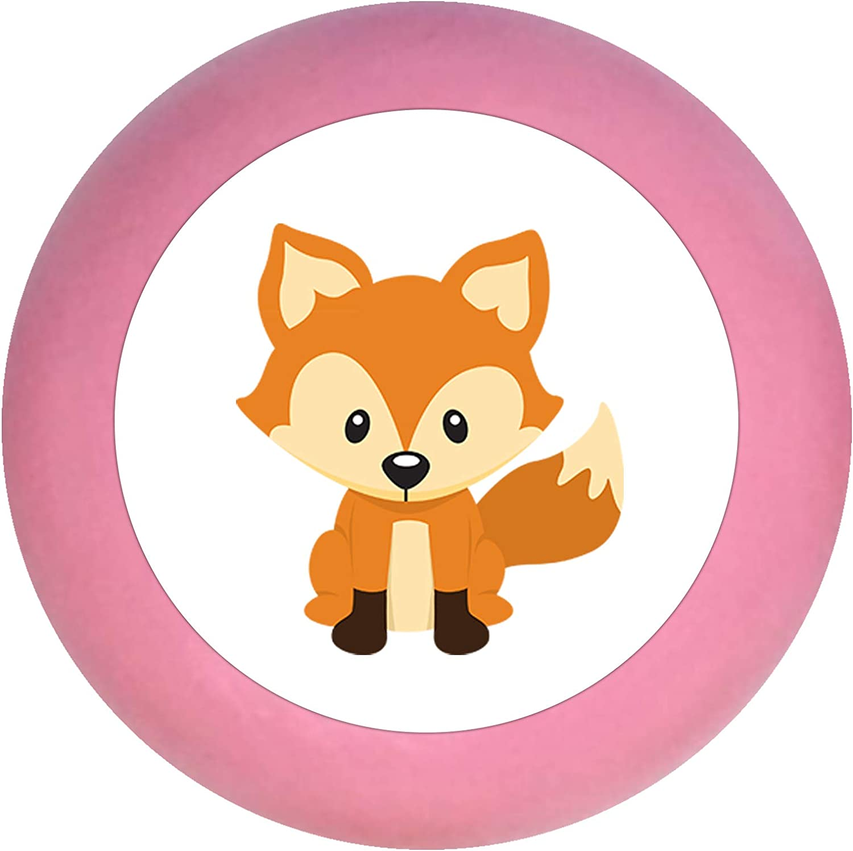 Schrankgriff Fuchs pink Holz Kinder Kinderzimmer 1 St/ück Waldtiere