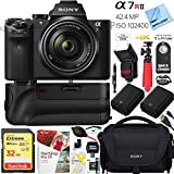 Sony a7R II 42.4MP Full-frame Mirrorless Interchangeable Lens Camera Body w/Sony FE 28-70mm F3.5-5.6 OSS Full Frame E-Mount Lens + 32GB Battery Grip and Memory Bundle