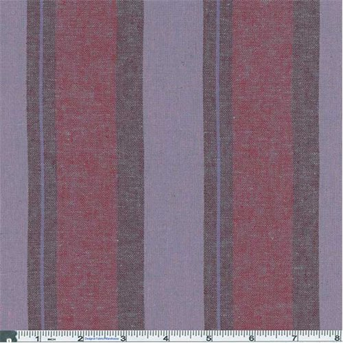 Awning Stripe Yarn (Wine Mix/Dusty Purple Stripe Shirting, Fabric By the Yard)