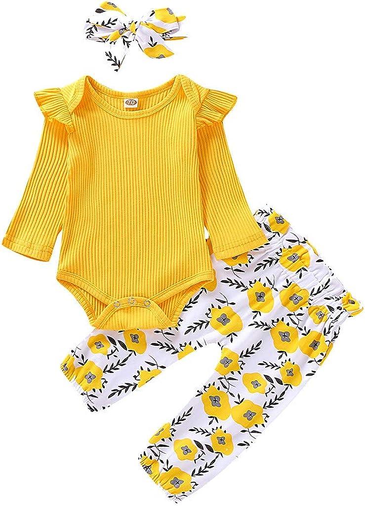 Miss Fortan 3PCS M/ädchen Baby Body Strampler Outfit Set Blumenschmuck Stil R/üschen Solide Baby Langarm Body Strampler Outfit Strampler+Hosen+Haarband Baby Geschenkset 0-24 Monate