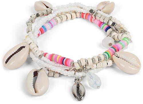 78df3f3dc55a styleBREAKER Set de 4 Pulseras de Mujer con Diferentes Perlas y Colgantes  de Conchas, Goma elástica, Pulsera de Bolas, Pulsera para la Playa, ...