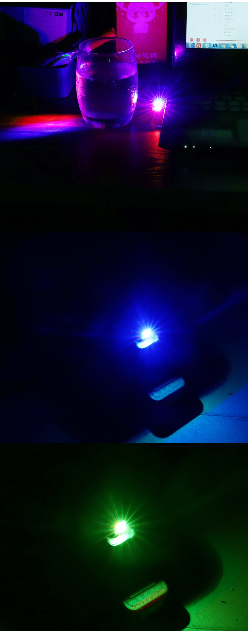 USB Portable Color Atmosphere Lights, LED,Car,Computer and Other USB Jack Scene,Voice Control Color Change Node, Breathing Light Mode, Monochrome Mode, Portable,2g