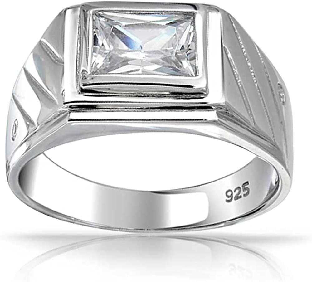 Bling Jewelry Geometrische Rechteck 2 Ct Emerald Cut AAA CZ L/ünette Herren Verlobungsring Zirkonia Band F/ür Herren