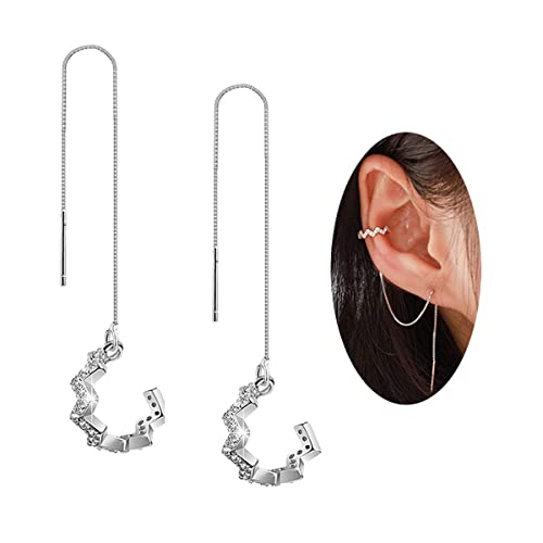 cb6d8d1d275 FarryDream 925 Sterling Silver New Arrival Wave Cuff Earrings Wrap Tassel  Earrings for Women Threader Earrings Perfect Valentine's Day Gifts