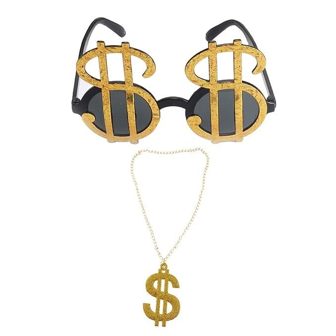 Homyl Confezione Da 2 Pz Brillante Dollaro USA Sunglasses Occhiali Da Sole  Collane 80s Rapper Big Daddy Costume Fancy Dress Elegante DJ Accessori  Gioielli  ... 306e1b074280