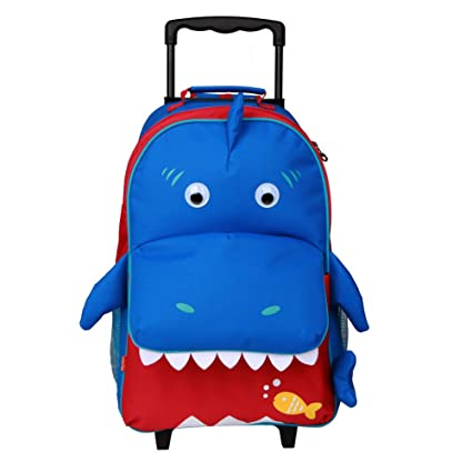 Yodo Upgraded Large Convertible 3-Way Kids Suitcase Rolling Luggage or Toddler Backpack with Wheels, Large Front Quick Access Pouch for Snacks or Knickknacks, Shark