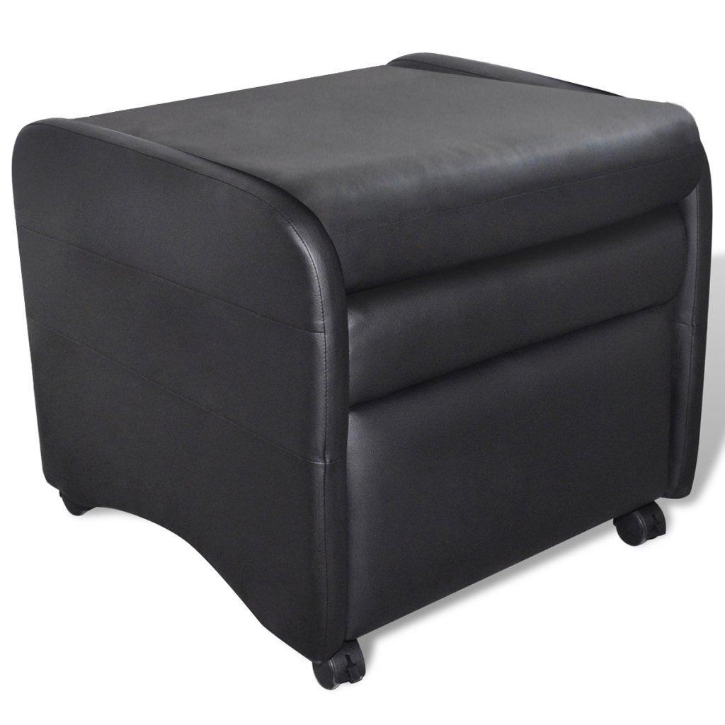Festnight Klappbarer Liegestuhl Liegestuhl Liegestuhl Klappstuhl aus Kunstleder Relax Liegesessel Schwarz 96bb4a