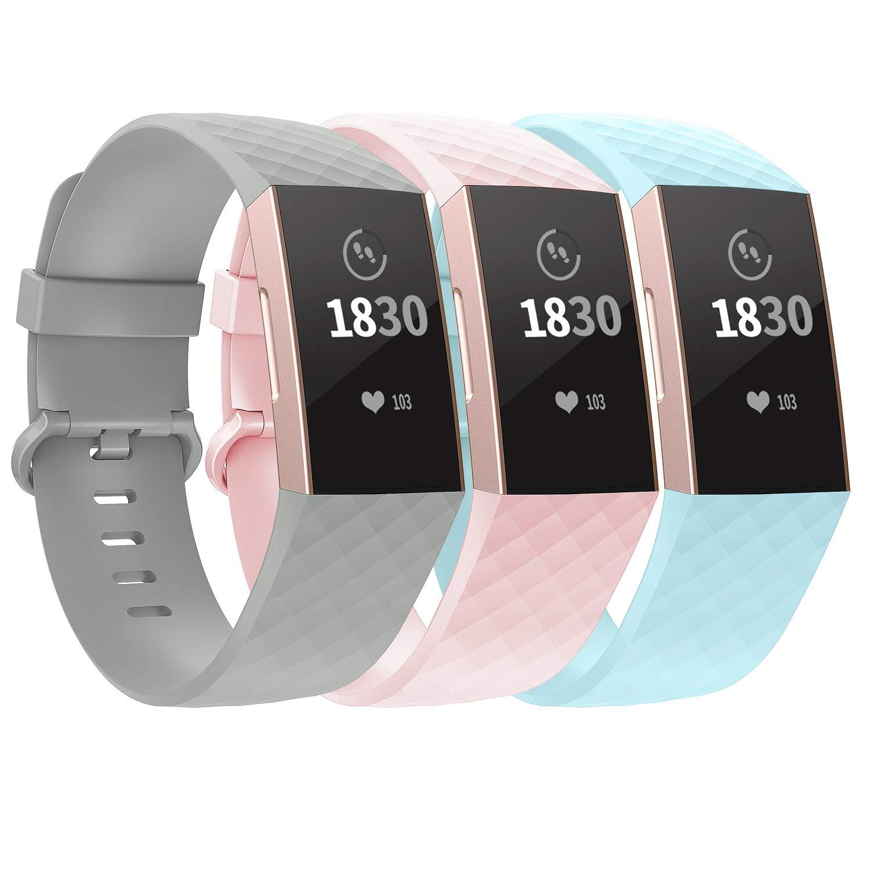 3 Mallas Large para Fitbit Charge 3/4 Gris / Rosa / Aqua