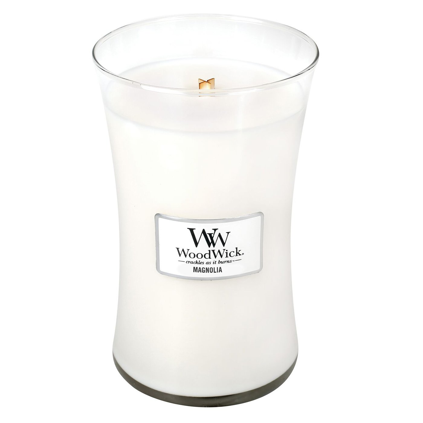 Large 7-inch 21.5 oz Classic Hourglass Jar WoodWick MAGNOLIA Highly Scented Candle