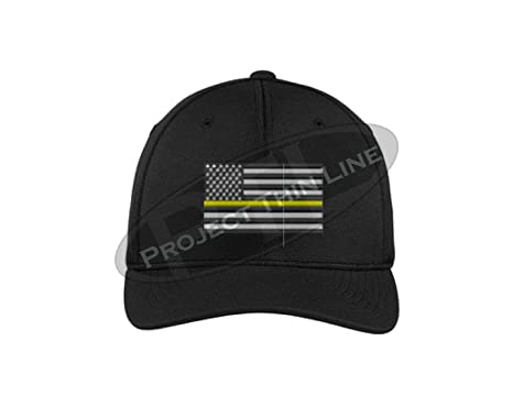 fad8dbeca10590 Embroidered Thin Yellow Line Subdued American Flag Security Officer Tow  Truck Driver Black Flexfit Hat (