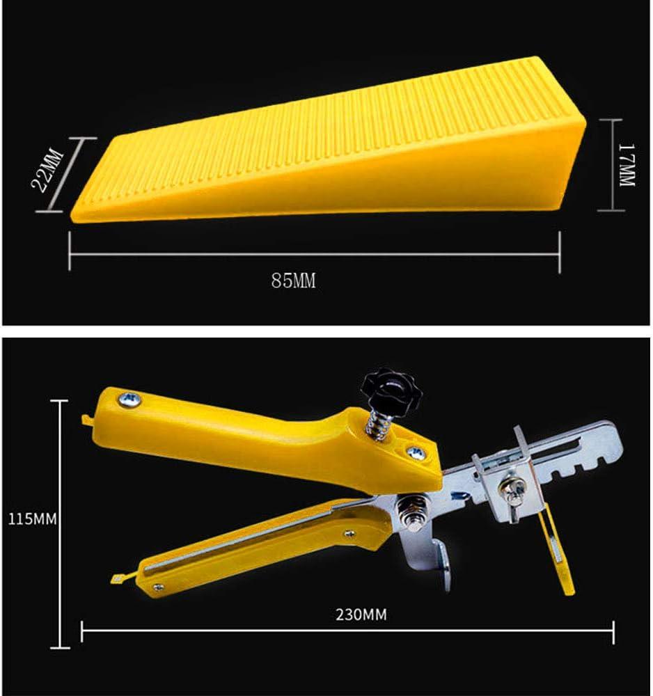 2 mm 300 piezas separador de cu/ña de nivel de baldosas m/ás 100 unidades de cu/ñas reutilizables con alicates de nivelaci/ón de azulejos amarillo Sistema de nivelaci/ón de azulejos OGORI