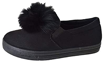 714677809 LADIES WOMENS FLAT GIRLS SNEAKERS POM POP LOAFERS PUMPS TRAINERS SHOES SIZE  3-8: Amazon.co.uk: Shoes & Bags