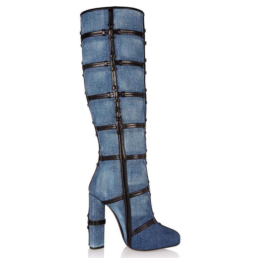 NVXEZI Frau Cowboystiefel Damen Knielange Stiefel Weiblich Einfacher Start Hochhackig mit kreuzförmigen Lederstiefeln Handbuch