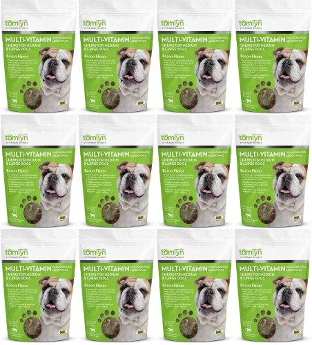 Tomlyn Multi-Vitamin Chews for Medium & Large Dogs Bacon 360ct (12 x 30ct) by Tom Lyn