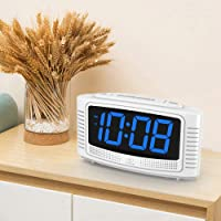 DreamSky Little Digital Alarm Clock with Snooze (White + Blue)