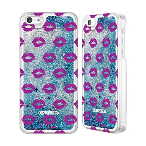 Official Cosmopolitan Purple Kiss Mark Sky Blue Liquid Glitter Case Cover for Apple iPhone 5c