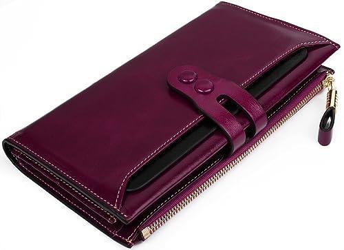 Yaluxe GRAN VENTA Lujoso Cartera Para Mujer Gran Capacidad Cuero Genuino Ceroso Billetera Con Zipper Bolsillo Morado: Amazon.es: Zapatos y complementos
