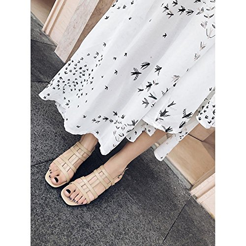 de WSXY Toe Redondo Talón Para Personalidad apricot Caminar KJJDE Mujer Confort Zapatos Tacón L0325 Peep Zapatilla Chanclas Sandalias wqwCU78x