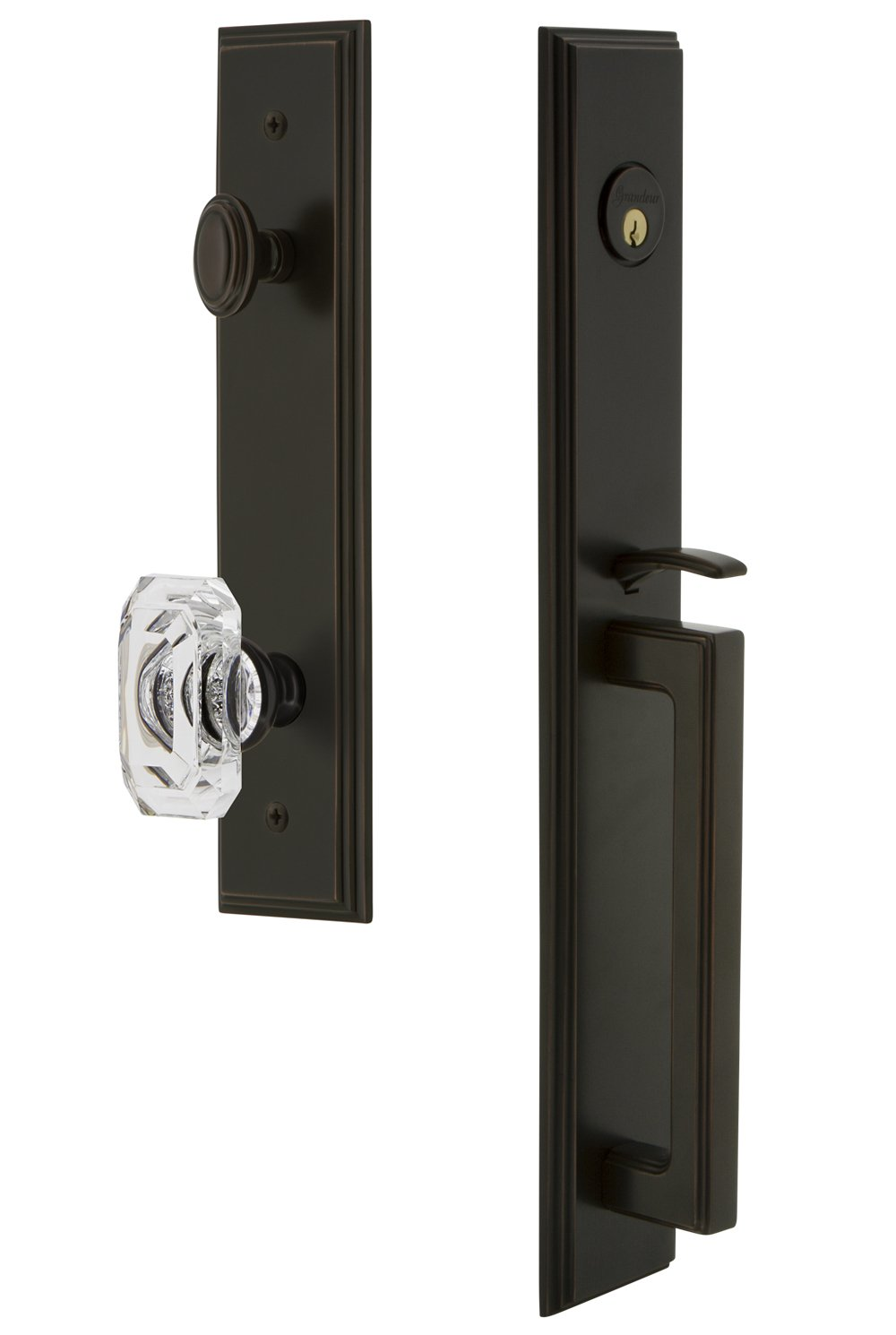 Grandeur 848832 Hardware Carre One-Piece Dummy Handleset with D Grip and Baguette Clear Crystal Knob in Satin Nickel