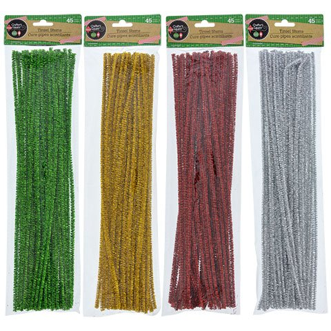 Crafter's Square Chrsitmas Color Tinsel Stems, Pack of 4, Red, Green, Silver and Gold (180 ()