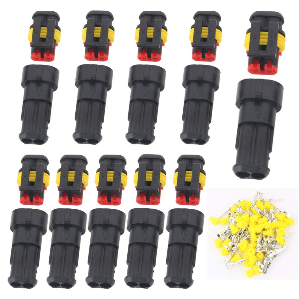 GTIWUNG 10 Kit 2 Pin Way Waterproof Electrical Wire Connector Plug Male and Female PA66 Nylon Housing 1.5mm Series Terminals for Motorcycle Scooter Auto Truck Marine