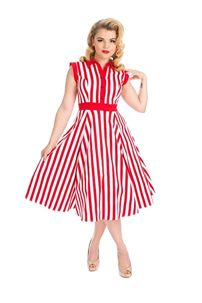 1950s Swing Dresses | 50s Swing Dress Hearts & Roses Striped Tea Dress in Red and White (Shipped from The US and US Sizes) $54.88 AT vintagedancer.com