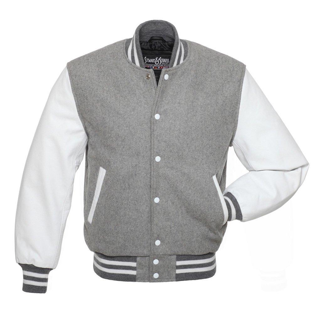 size 40 c68ed 30741 Galleon - Stewart   Strauss C144-XS Grey Wool White Leather Varsity Jacket  Letterman Jacket