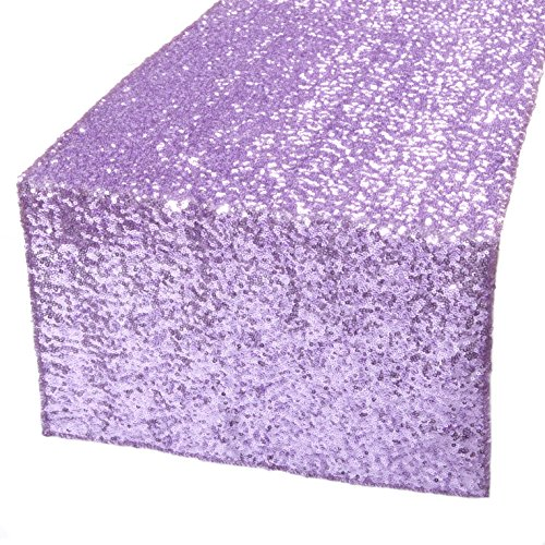 Kevin Textile Sequin Decorative Glitter Banquet Decorative Sparkling Party Holiday Wedding Table Runner/Table Top Decoration for New Year/Christmas, 14x108, Violet