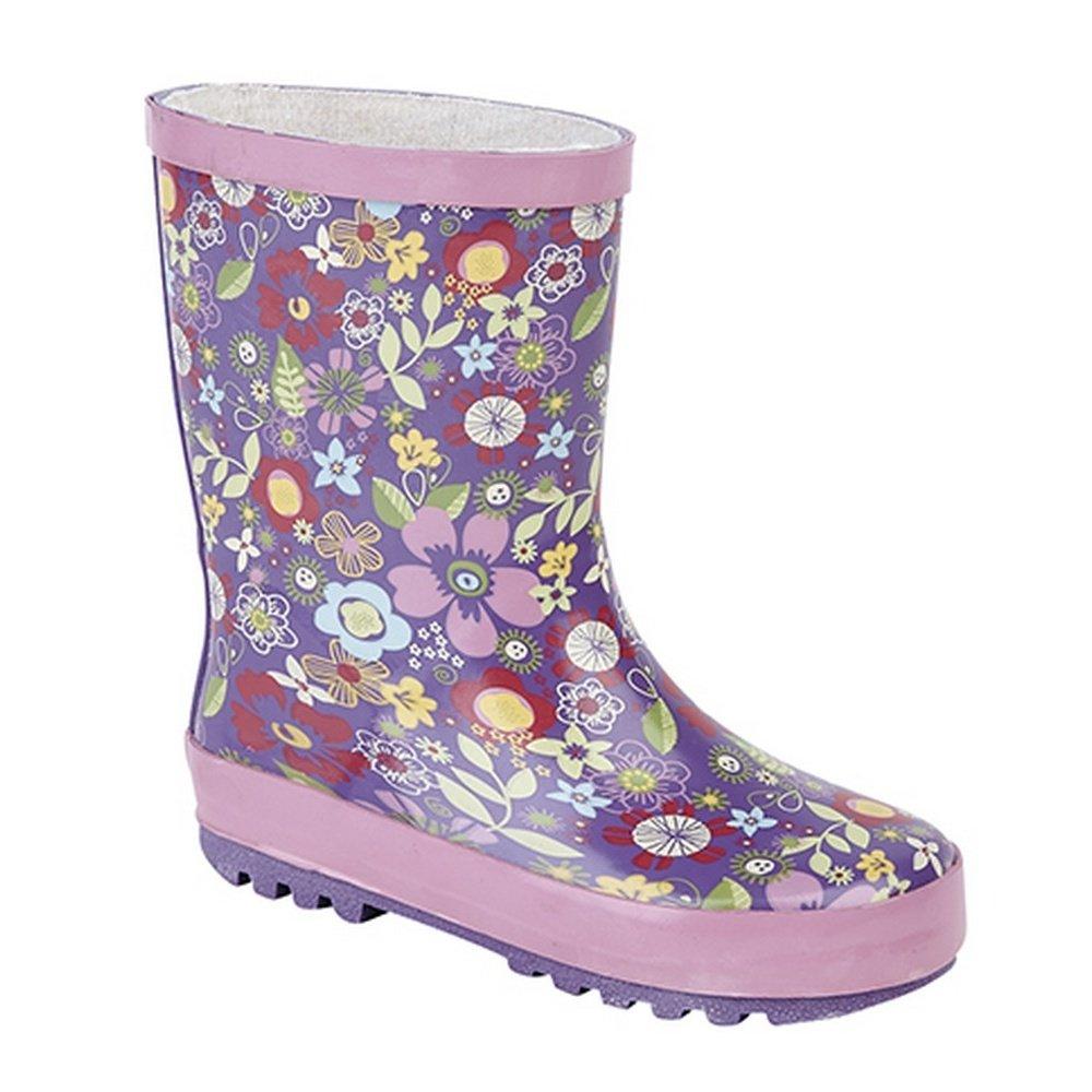 1 US StormWells Girls Multi Printed Kids Rain Boots Mauve//Pink