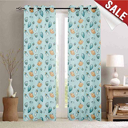 Baby Drapes for Living Room Infant Head with Balloons Pacifiers and Milk Bottles Newborn Inspired Window Curtain Fabric W96 x L108 Inch Baby Blue Turquoise Tan ()